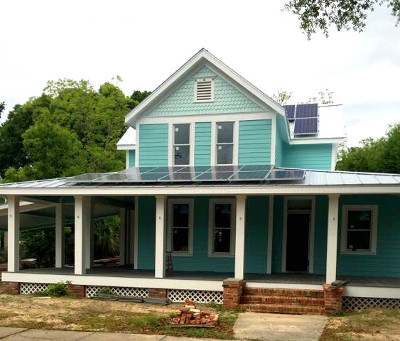 DAN AND SHERRY COSSON'S LIVE OAK AVENUE HOME will become DeFuniak Springs' first solar-powered house once construction is complete. The Cossons will retire within two years' time, and after that look to enjoy life in the city's historic district while also paying 40 percent less (or more) on their utility bill each month. (Photo courtesy of Dan and Sherry Cosson)