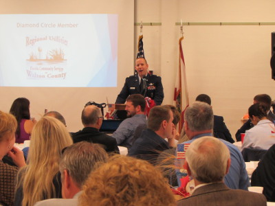 MAJ. DAMIAN OCHS, USAF, told stories about the gratitude civilians extend to members of the military, at Walton Area Chamber's First Friday Breakfast honoring the military.