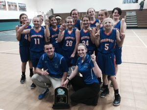 FREEPORT MIDDLE SCHOOL'S girls basketball team won their conference championship with a 17-9 victory over Emerald Coast on Saturday. Freeport captured the 5-team tournament title that was played in Crestview at Davidson Middle School.
