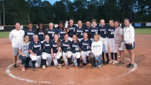 THE WALTON LADY BRAVES softball team captured their second consecutive district championship with a 3-0 win over Panama City Rutherford. (Photo by Patrick Casey)