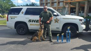 """DEPUTY CHRIS WHATMOUGH AND K9 FARO. K9 """"Faro"""" and handler Deputy Chris Whatmough finished top 15 in the country this week at the National USPCA Canine Field Trials. (WCSO photo)"""