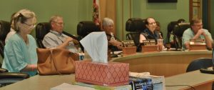 COUNTY COMMISSIONERS at the July 11 budget workshop. (Photo by Dotty Nist)