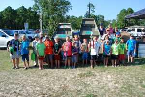 TOURNAMENT ANGLERS GATHER for a post tournament photo at Nick's Kids Catfish Tournament. (Photo by Jeffrey Powell)