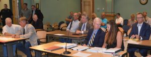 SANDESTIN INVESTMENTS representatives, county staff and legal counsel, representatives of affected parties and members of the public gathered on Sept. 9 at the BCC hearing scheduled for the Notice of Proposed Change. (Photo by Dotty Nist)