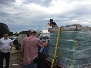 CONSOLIDATED EFFORT: The DeFuniak Springs Kiwanis Club in conjunction with The Matrix, the Paxton Key Club, First Apostolic Church and Consolidated Ace Hardware, delivered two large trailer loads of clothes, building supplies, bottled water, toys, linens and sleeping bags to displaced families in Gonzales, Louisiana.