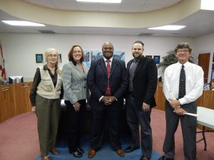 """REORGANIZATION OF THE WALTON COUNTY SCHOOL BOARD, and reorganization of the Walton County Public Education Finance Authority was held the evening of Nov. 22, 2016. A new chair and vice chair were elected. It was also Russell Hughes' first meeting as the new Superintendent for the district and Marsha Winegarner's first meeting as a school board member. Pictured (l-r) Board member Marsha Winegarner, Chairperson Kim Kirby, Superintendent Russell Hughes, Board member Jason Catalano and Vice Chair William """"Bill"""" Eddins Jr."""